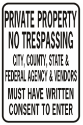 Private Property No Trespassing City County State And Federal Rectangle