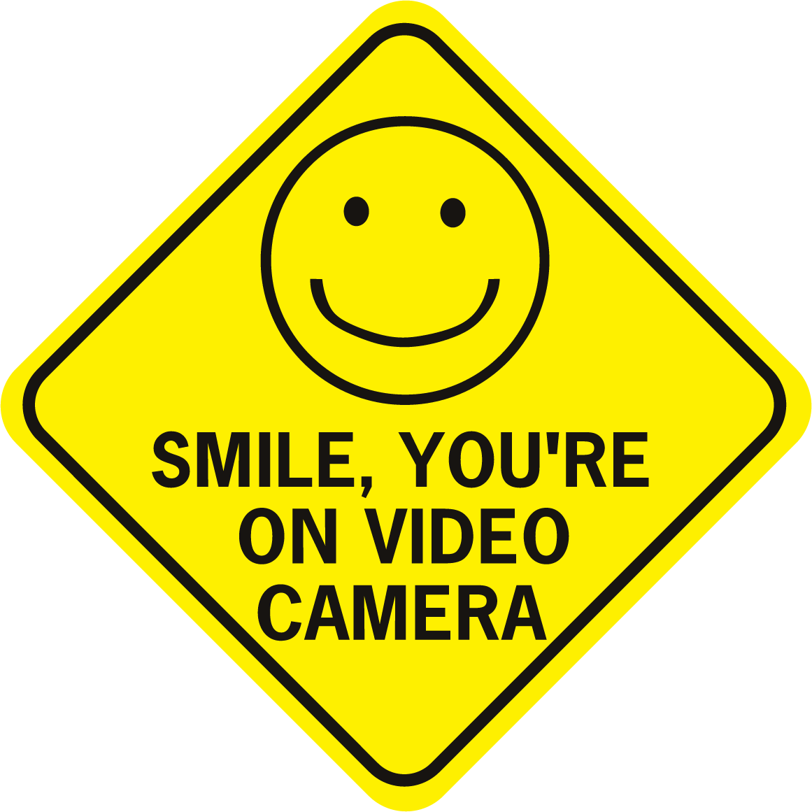 Smile You're On Video Camera W Happy Face Diamond