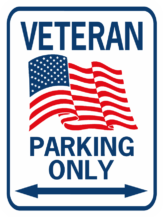 Veteran parking with flag