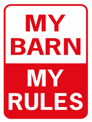 Horse My Barn My Rules funny aluminum sign