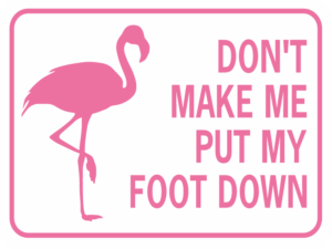 FLAMINGO DON'T MAKE ME PUT MY FOOT DOWN sign