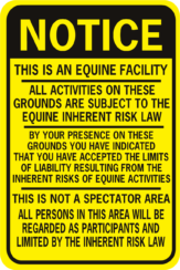 Notice Equine Liability Sign Generic