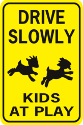 goat Drive Slowly Kids at Play rectangle 2 goats