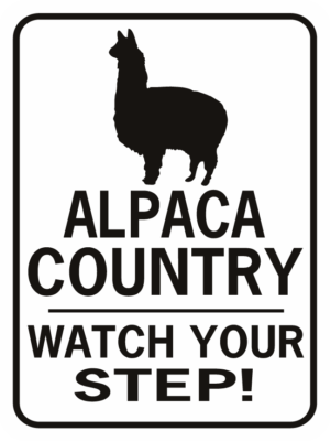 ALPACA COUNTRY WATCH YOUR STEP RECTANGLE