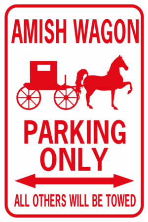 amish wagon parking red