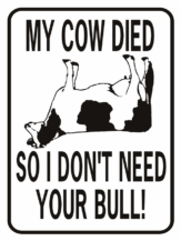 Cow My Cow Died So I DOn't Need Your Bull