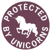unicorn property protected by unicorns round purp wt