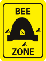 Bee Zone rectangle w hive