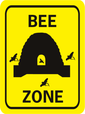 Bee Zone rectangle w hive